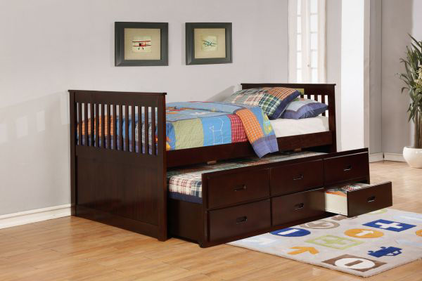 Picture of HEY CAPTAINS BED WALNUT+TRUNDL