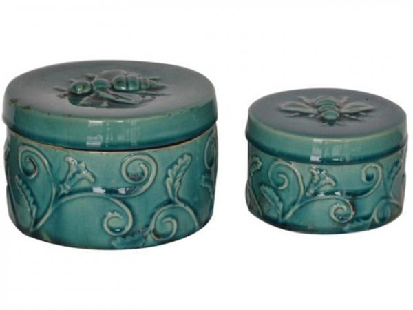 Picture of ROUND ORNATE BOXES TURQUOISE