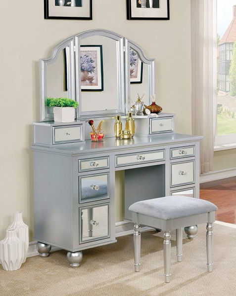 Picture of VANITY W/ STOOL, SILVER