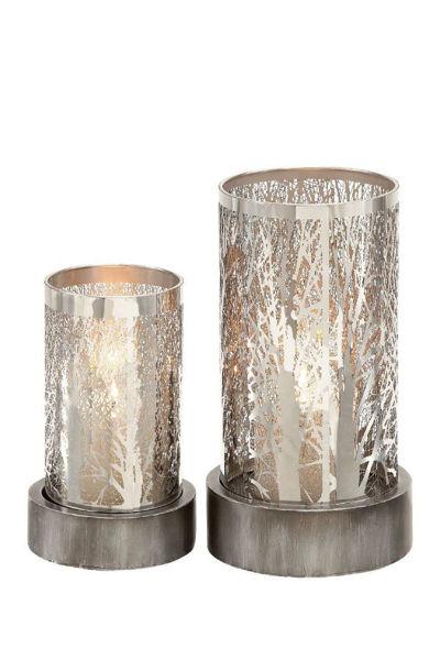 Imagen de METAL/GLASS CANDLE HOLDER S/2