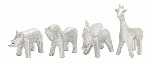 Picture of POLYSTONE SILVER ANIMALS S/4