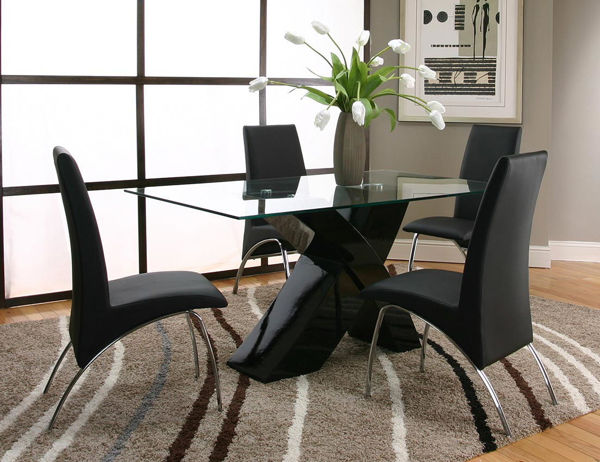 Picture of MENSA BLACK 5PC+4 RED CHAIRS