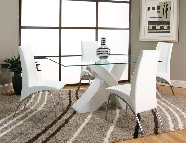 Picture of MENSA WHITE 5PC+4 BLACK CHAIRS