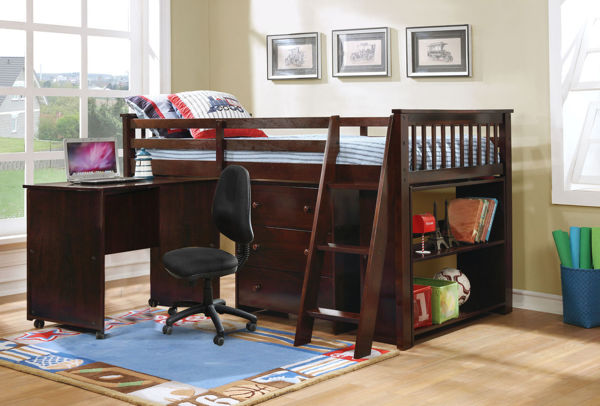 Picture of TOLI LOFT BED WITH DESK WALNUT