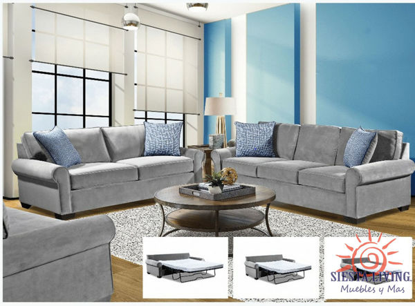Picture of DOVE GRAY SLEEPER LOVESEAT