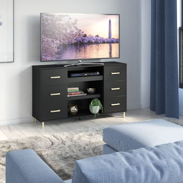 Picture of OMNI TV STAND BLACK/GOLD