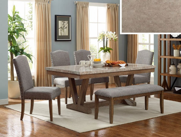 Picture of VESPER 7PC REAL MARBLE DINETTE