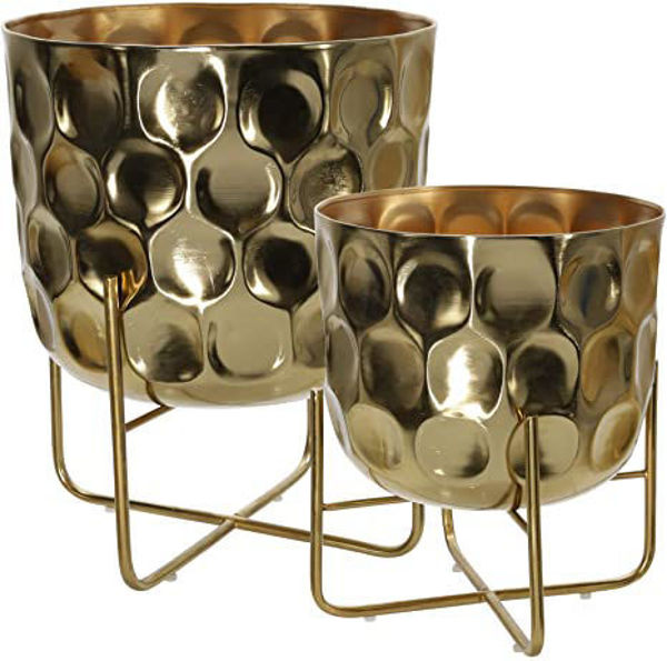 Picture of S/2 METAL HAMMERED PLANTER GLD