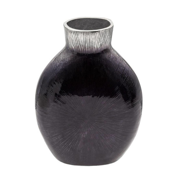 Picture of RIBBED MTL VASE, 2-TONE BLACK