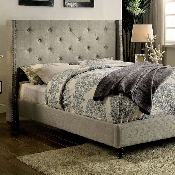 Picture of ANABELLE GRAY QUEEN TUFTED BED